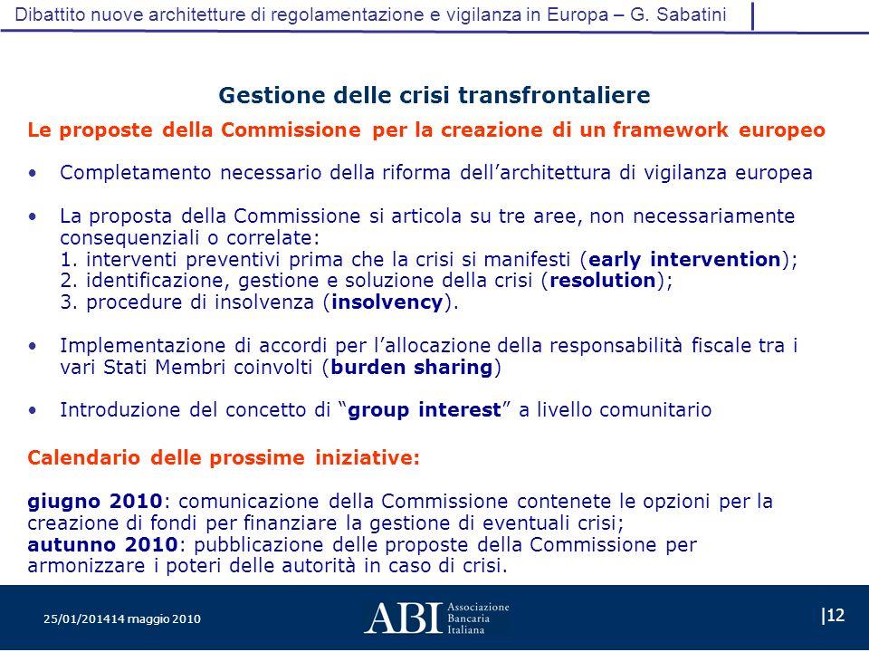 25/01/201414 maggio 2010 |12 Dibattito nuove architetture di regolamentazione e vigilanza in Europa – G.