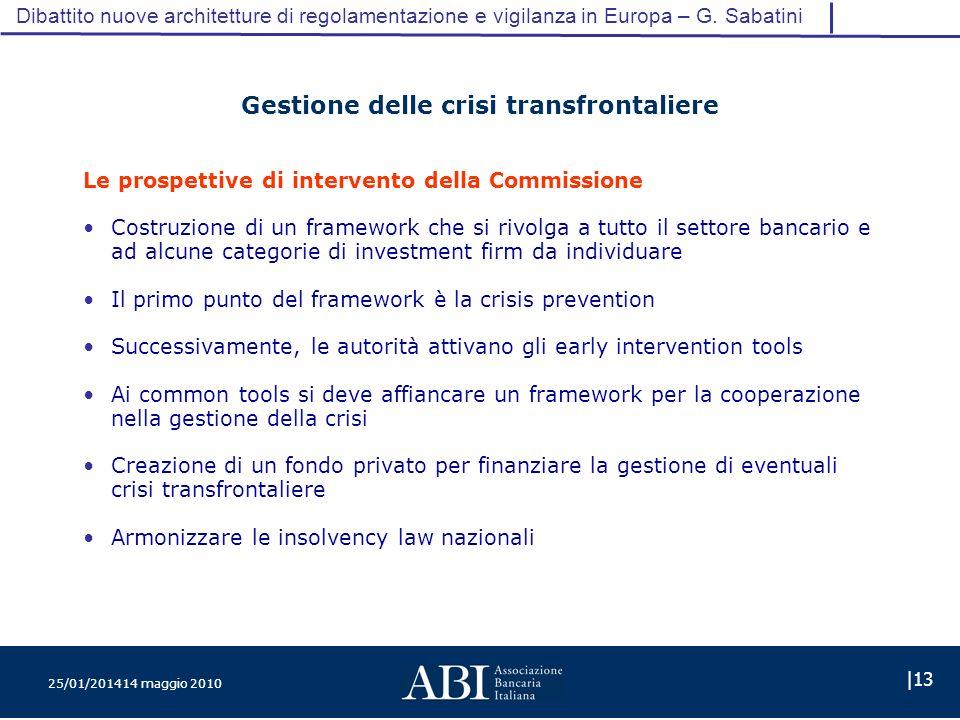 25/01/201414 maggio 2010 |13 Dibattito nuove architetture di regolamentazione e vigilanza in Europa – G.