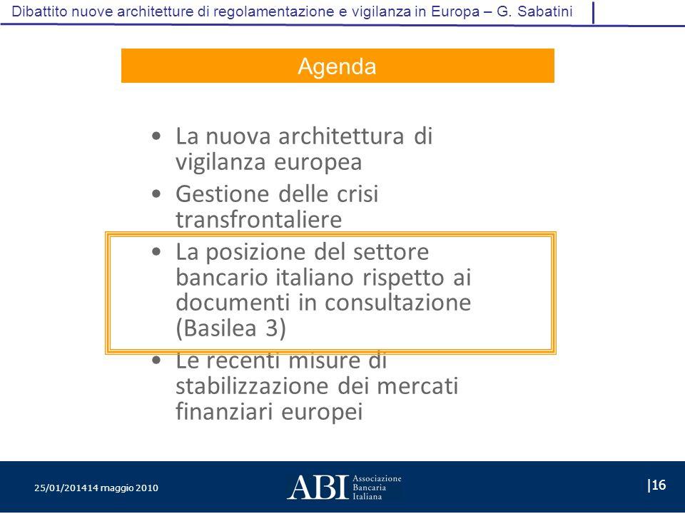 25/01/201414 maggio 2010 |16 Dibattito nuove architetture di regolamentazione e vigilanza in Europa – G.
