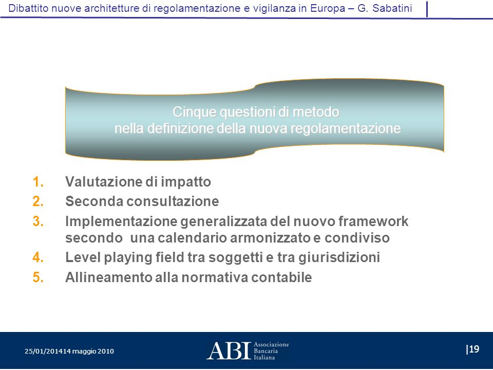 25/01/201414 maggio 2010 |19 Dibattito nuove architetture di regolamentazione e vigilanza in Europa – G.