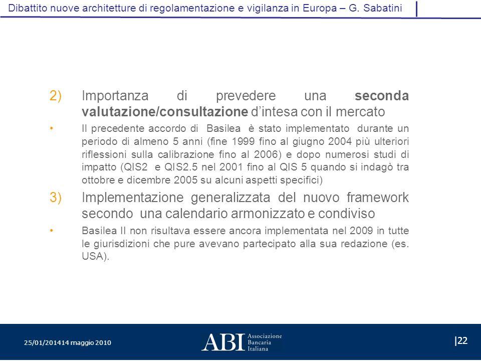 25/01/201414 maggio 2010 |22 Dibattito nuove architetture di regolamentazione e vigilanza in Europa – G.