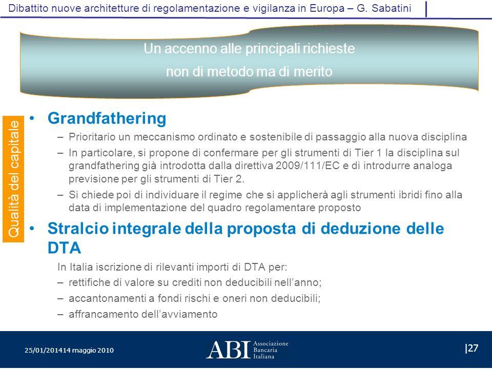 25/01/201414 maggio 2010 |27 Dibattito nuove architetture di regolamentazione e vigilanza in Europa – G.