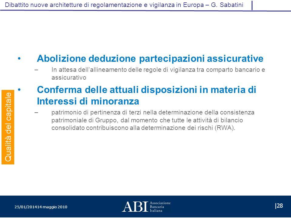 25/01/201414 maggio 2010 |28 Dibattito nuove architetture di regolamentazione e vigilanza in Europa – G.