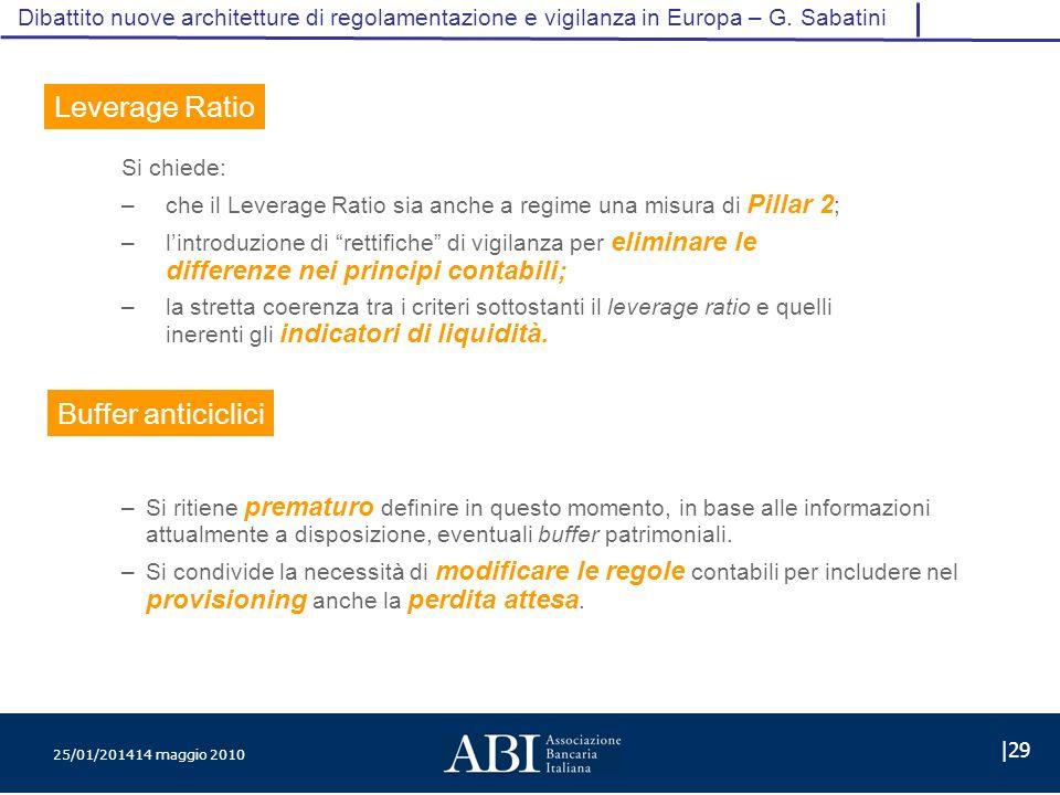 25/01/201414 maggio 2010 |29 Dibattito nuove architetture di regolamentazione e vigilanza in Europa – G.