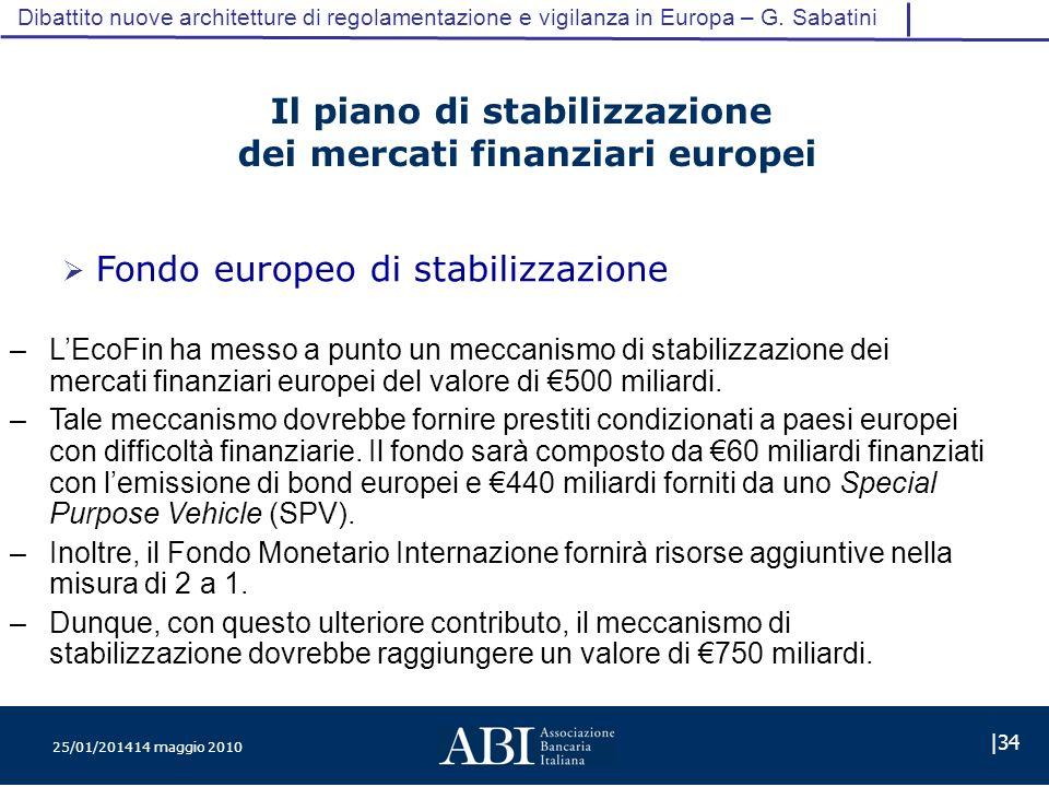 25/01/201414 maggio 2010 |34 Dibattito nuove architetture di regolamentazione e vigilanza in Europa – G.