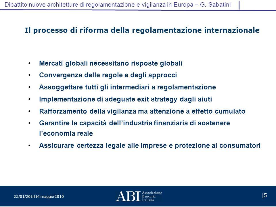25/01/201414 maggio 2010 |5 Dibattito nuove architetture di regolamentazione e vigilanza in Europa – G.