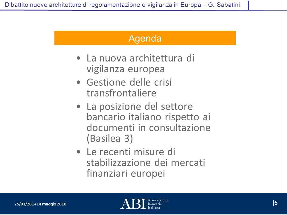 25/01/201414 maggio 2010 |6 Dibattito nuove architetture di regolamentazione e vigilanza in Europa – G.