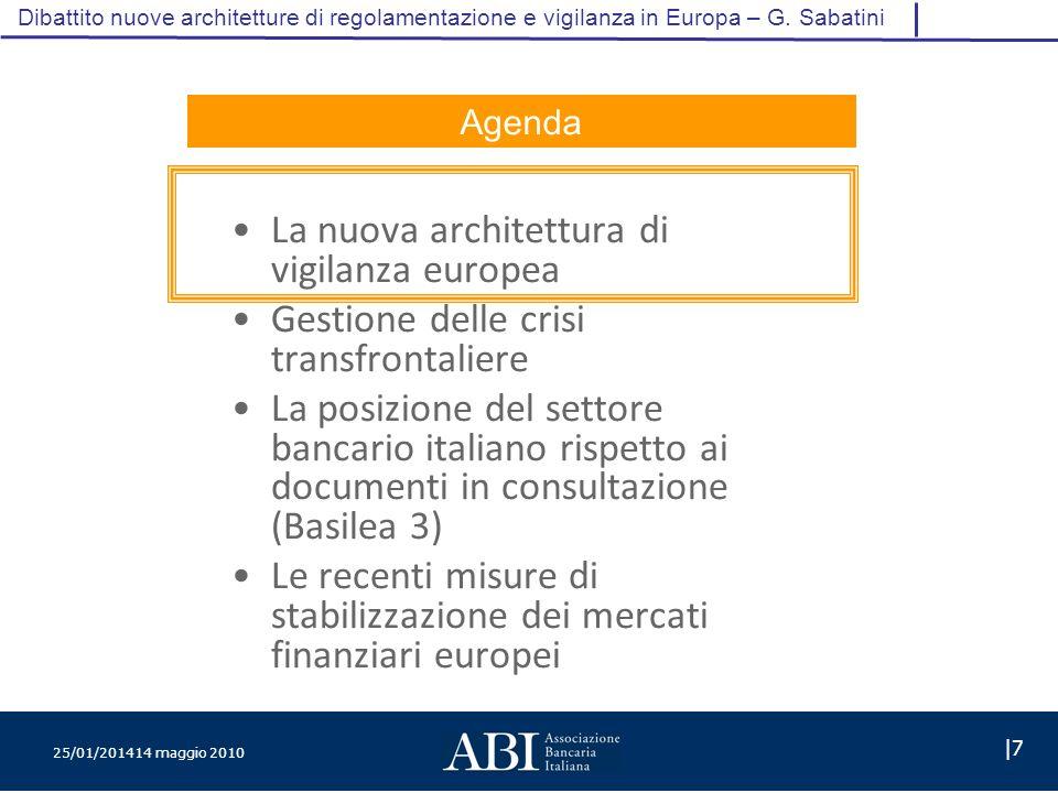 25/01/201414 maggio 2010 |7 Dibattito nuove architetture di regolamentazione e vigilanza in Europa – G.