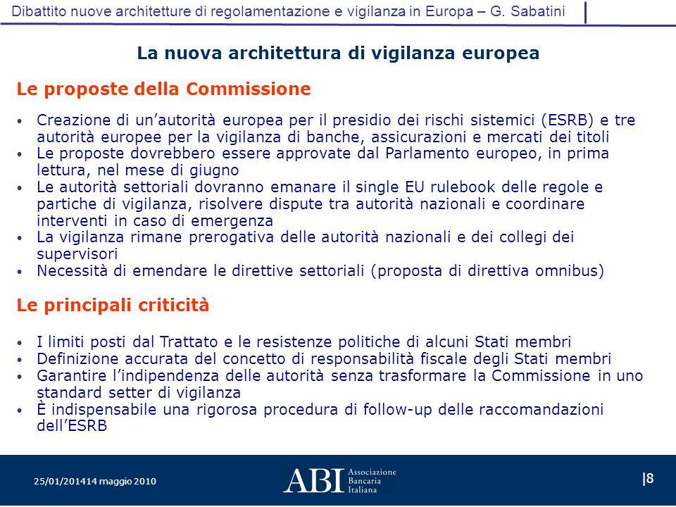 25/01/201414 maggio 2010 |8 Dibattito nuove architetture di regolamentazione e vigilanza in Europa – G.