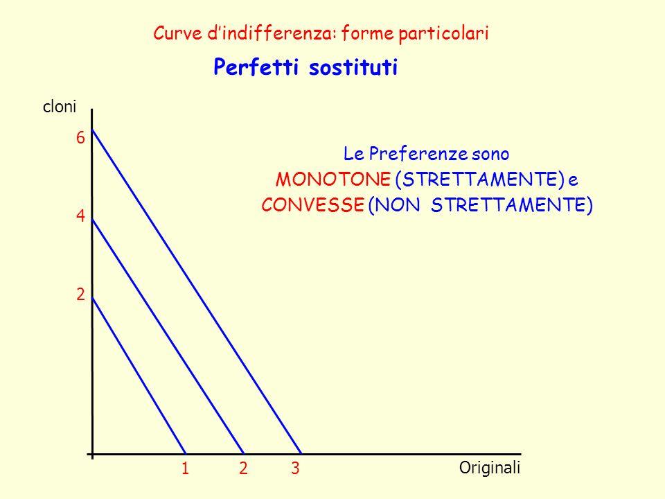 cloni Originali Curve dindifferenza: forme particolari Perfetti sostituti Le Preferenze sono MONOTONE (STRETTAMENTE) e CONVESSE (NON STRETTAMENTE) 4 2