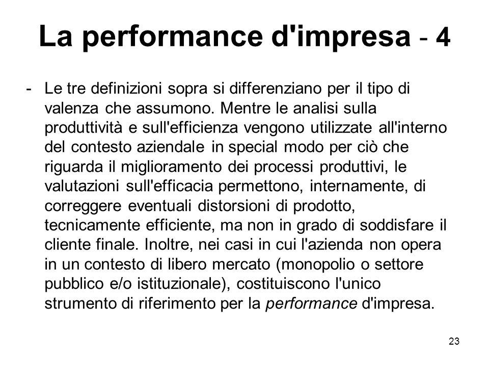 23 La performance d'impresa - 4 -Le tre definizioni sopra si differenziano per il tipo di valenza che assumono. Mentre le analisi sulla produttività e