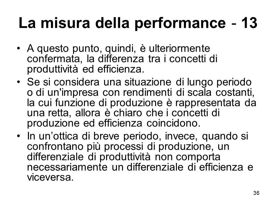 36 La misura della performance - 13 A questo punto, quindi, è ulteriormente confermata, la differenza tra i concetti di produttività ed efficienza. Se
