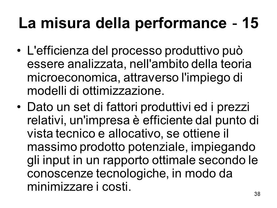 38 La misura della performance - 15 L'efficienza del processo produttivo può essere analizzata, nell'ambito della teoria microeconomica, attraverso l'