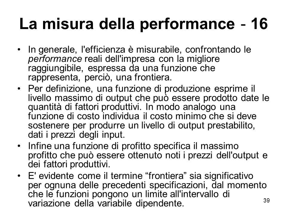 39 La misura della performance - 16 In generale, l'efficienza è misurabile, confrontando le performance reali dell'impresa con la migliore raggiungibi