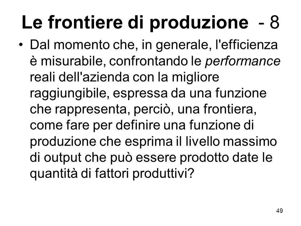49 Le frontiere di produzione - 8 Dal momento che, in generale, l'efficienza è misurabile, confrontando le performance reali dell'azienda con la migli