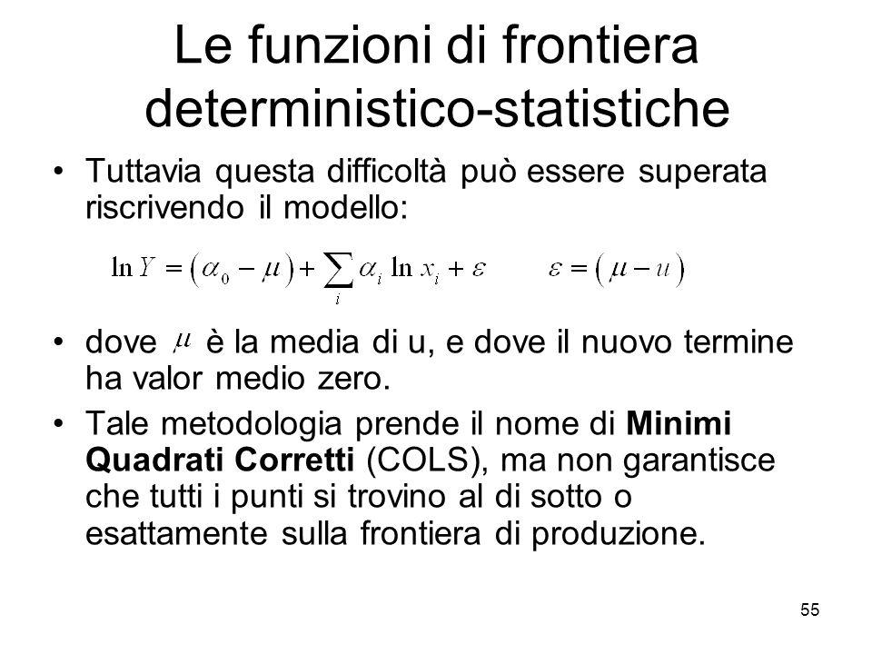 55 Le funzioni di frontiera deterministico-statistiche Tuttavia questa difficoltà può essere superata riscrivendo il modello: dove è la media di u, e