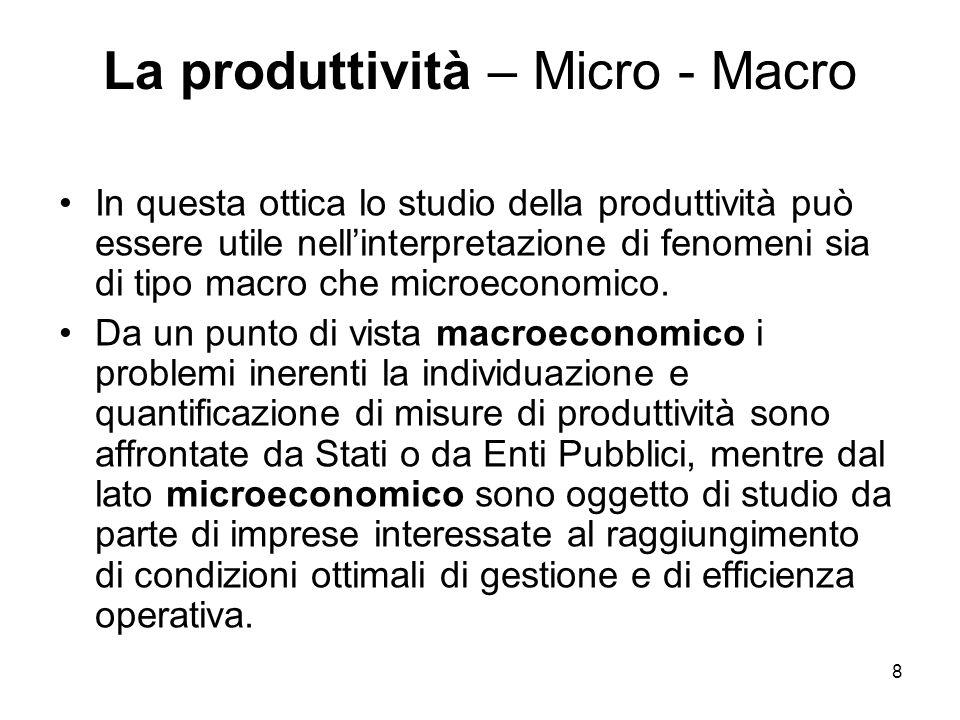 8 La produttività – Micro - Macro In questa ottica lo studio della produttività può essere utile nellinterpretazione di fenomeni sia di tipo macro che
