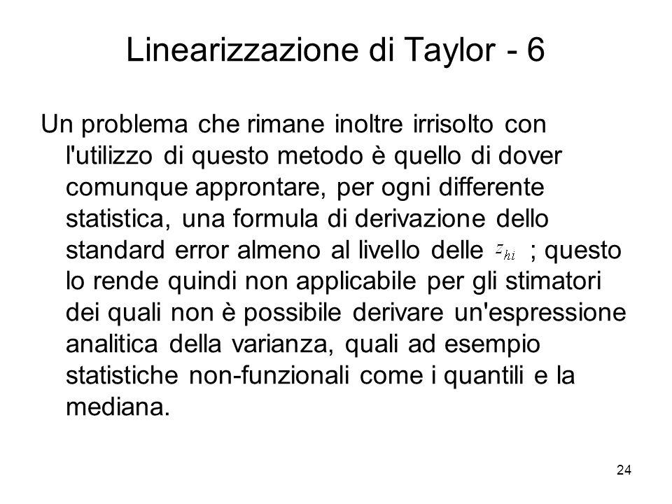 24 Linearizzazione di Taylor - 6 Un problema che rimane inoltre irrisolto con l'utilizzo di questo metodo è quello di dover comunque approntare, per o