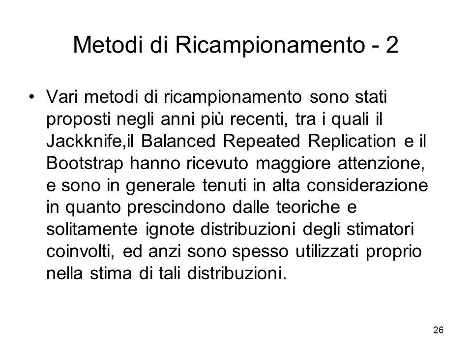26 Metodi di Ricampionamento - 2 Vari metodi di ricampionamento sono stati proposti negli anni più recenti, tra i quali il Jackknife,il Balanced Repea