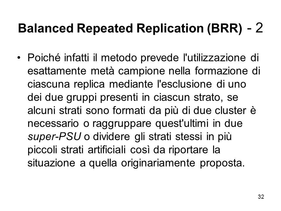 32 Balanced Repeated Replication (BRR) - 2 Poiché infatti il metodo prevede l'utilizzazione di esattamente metà campione nella formazione di ciascuna