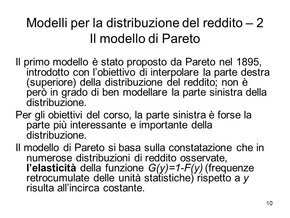 10 Modelli per la distribuzione del reddito – 2 Il modello di Pareto Il primo modello è stato proposto da Pareto nel 1895, introdotto con lobiettivo d