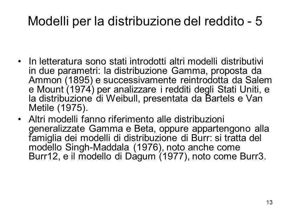 13 Modelli per la distribuzione del reddito - 5 In letteratura sono stati introdotti altri modelli distributivi in due parametri: la distribuzione Gam