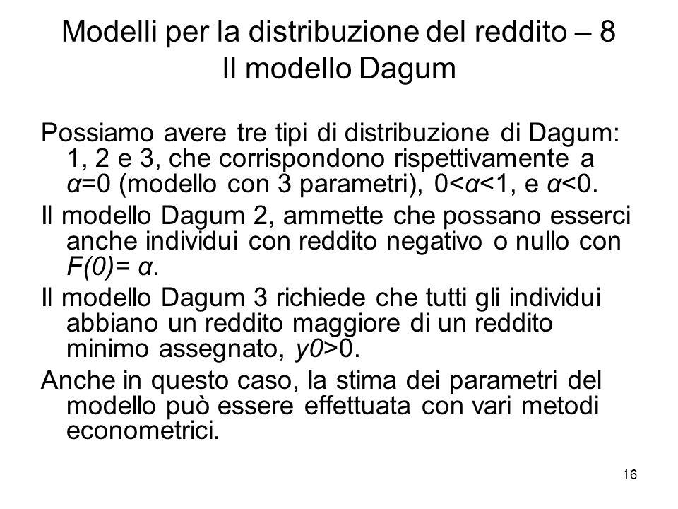 16 Modelli per la distribuzione del reddito – 8 Il modello Dagum Possiamo avere tre tipi di distribuzione di Dagum: 1, 2 e 3, che corrispondono rispet