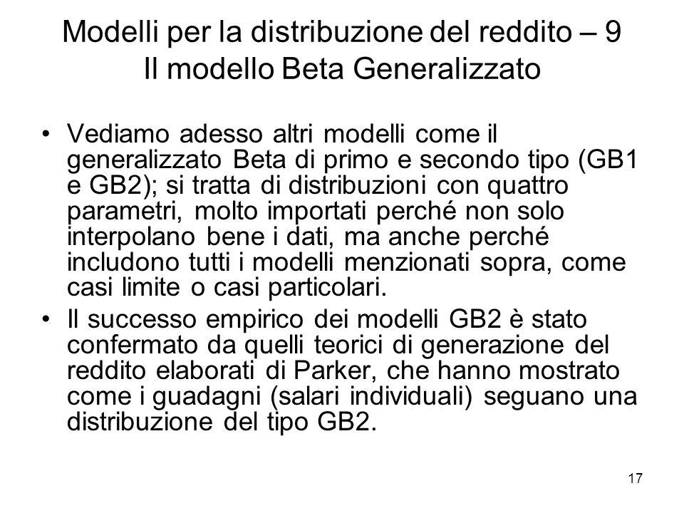 17 Modelli per la distribuzione del reddito – 9 Il modello Beta Generalizzato Vediamo adesso altri modelli come il generalizzato Beta di primo e secon