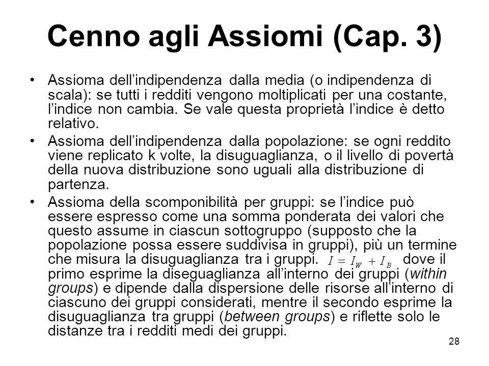 28 Cenno agli Assiomi (Cap. 3) Assioma dellindipendenza dalla media (o indipendenza di scala): se tutti i redditi vengono moltiplicati per una costant