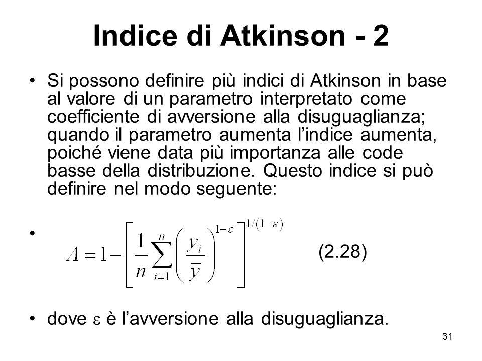 31 Indice di Atkinson - 2 Si possono definire più indici di Atkinson in base al valore di un parametro interpretato come coefficiente di avversione al