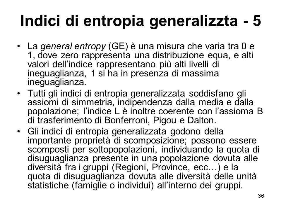 36 Indici di entropia generalizzta - 5 La general entropy (GE) è una misura che varia tra 0 e 1, dove zero rappresenta una distribuzione equa, e alti