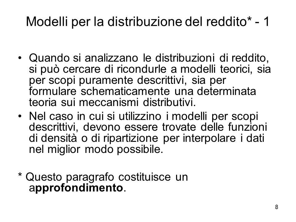 9 Modelli per la distribuzione del reddito - 2 Lo scopo consiste nel trovare funzioni matematiche che generino distribuzioni di frequenza che si adattino bene alle distribuzioni di reddito osservate, e che abbiano anche un fondamento teorico.