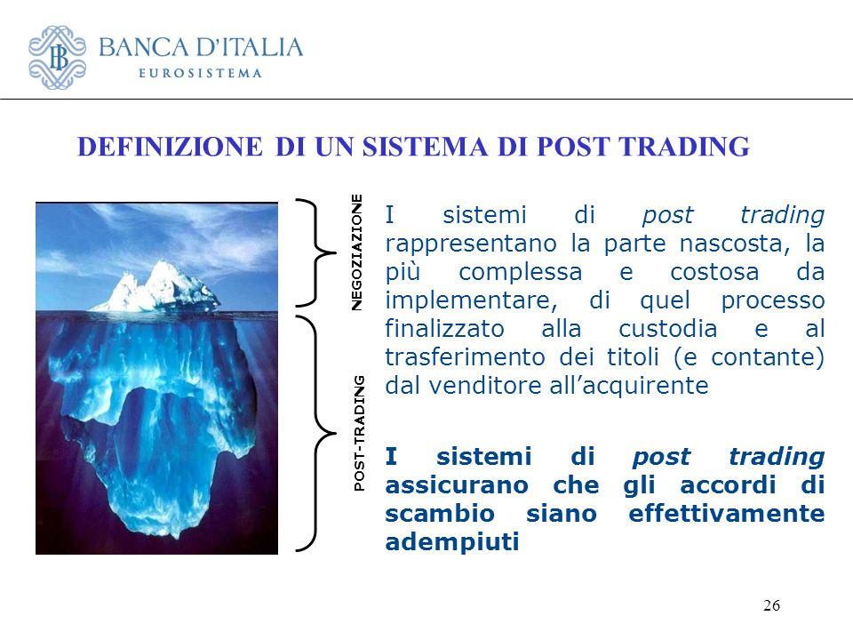26 DEFINIZIONE DI UN SISTEMA DI POST TRADING NEGOZIAZIONE POST-TRADING I sistemi di post trading rappresentano la parte nascosta, la più complessa e c