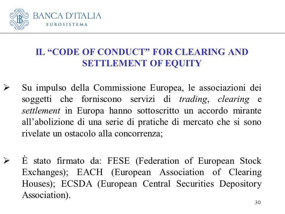 30 Su impulso della Commissione Europea, le associazioni dei soggetti che forniscono servizi di trading, clearing e settlement in Europa hanno sottosc