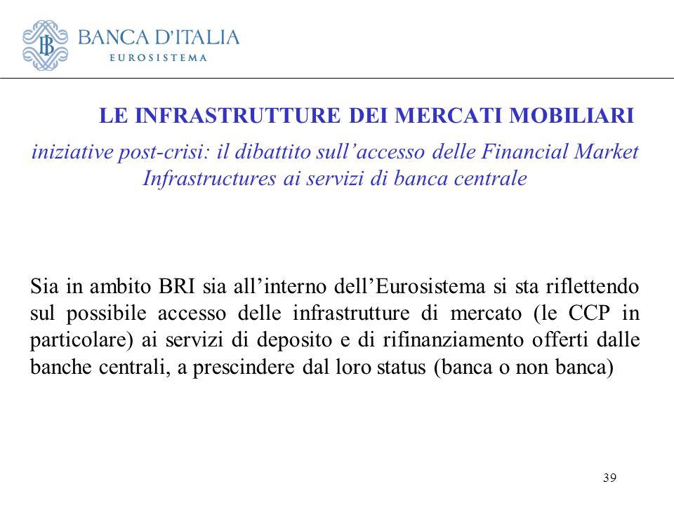 39 LE INFRASTRUTTURE DEI MERCATI MOBILIARI iniziative post-crisi: il dibattito sullaccesso delle Financial Market Infrastructures ai servizi di banca
