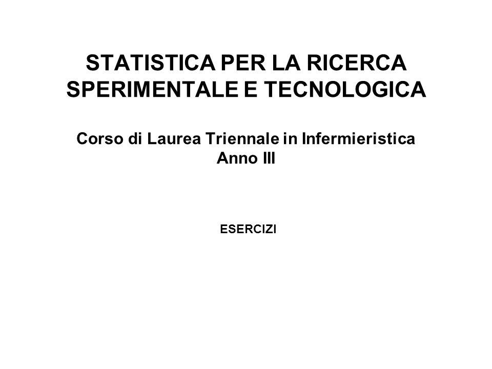 STATISTICA PER LA RICERCA SPERIMENTALE E TECNOLOGICA Corso di Laurea Triennale in Infermieristica Anno III ESERCIZI