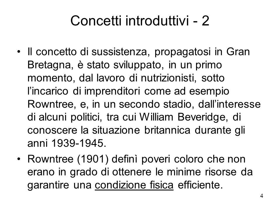 5 Concetti introduttivi - 3 Il concetto di sussistenza è stato pesantemente criticato da Townsend e da Rein.