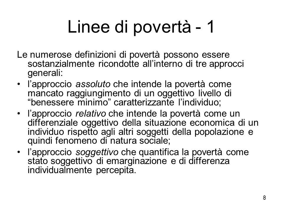 29 Classe Foster, Greer e Thorbecke (1984) Tutti gli indici della classe FGT( ), con >1 soddisfano gli assiomi desiderabili per gli indici di povertà, compreso il principio del trasferimento, e sono scomponibili per sottogruppi.