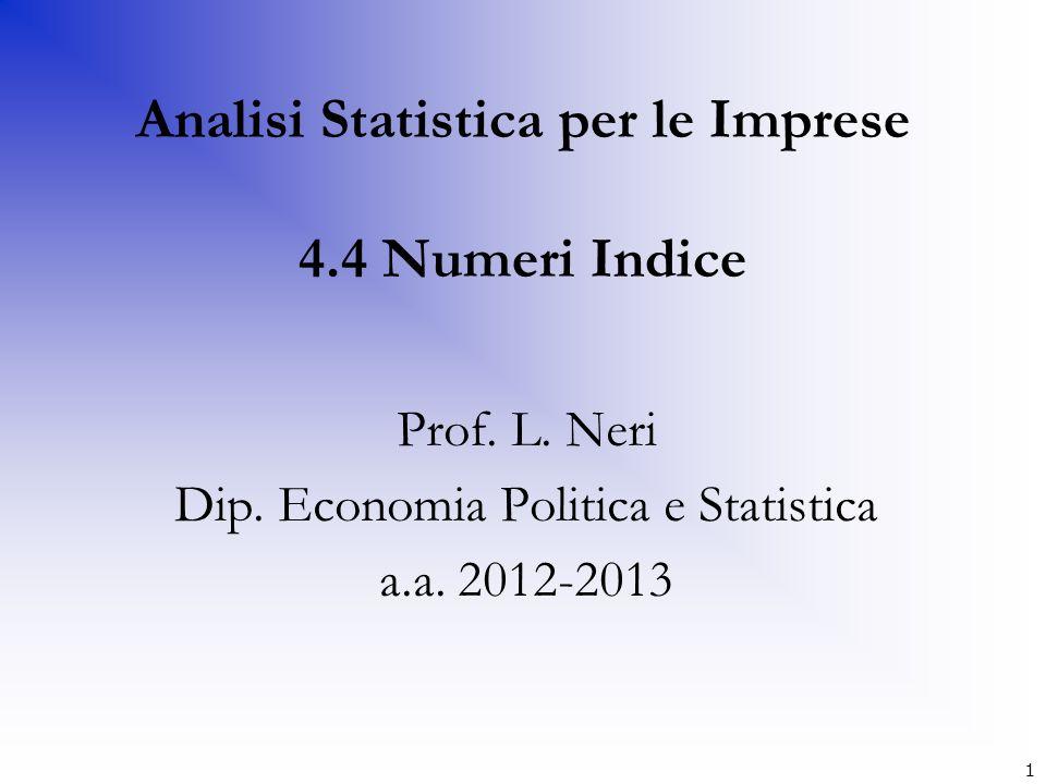 Numeri indice a base fissa (tempo base 1) AnniRata mensile media (in euro) Numeri indice base fissa (2004=100) 2004350100 2005365104 2006400114 2007550157 2008615176 (350/350)*100 (365/350)*100 (400/350)*100 (550/350)*100 (615/350)*100 12