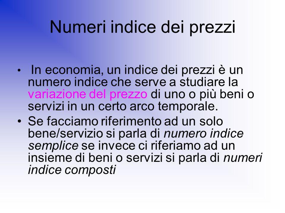 Numeri indice dei prezzi In economia, un indice dei prezzi è un numero indice che serve a studiare la variazione del prezzo di uno o più beni o serviz
