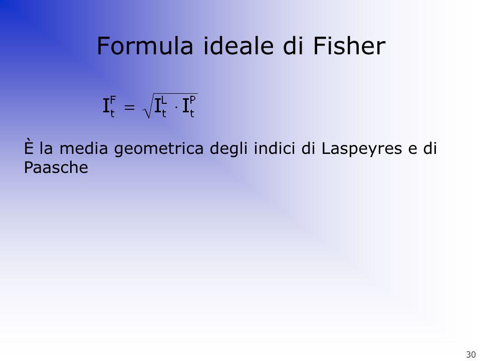 Formula ideale di Fisher È la media geometrica degli indici di Laspeyres e di Paasche 30