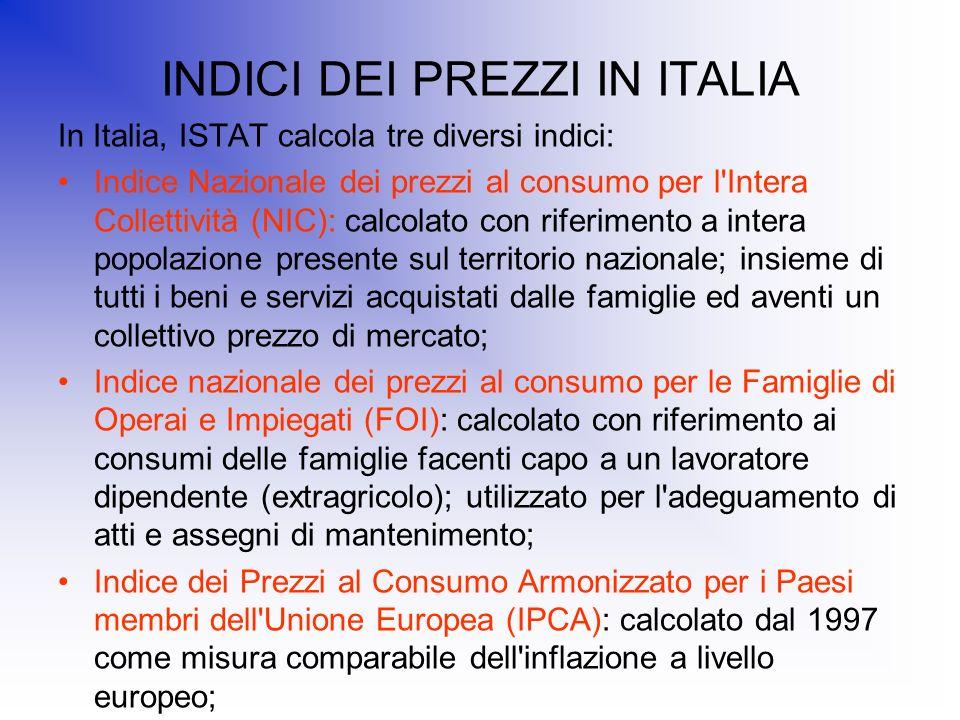 INDICI DEI PREZZI IN ITALIA In Italia, ISTAT calcola tre diversi indici: Indice Nazionale dei prezzi al consumo per l'Intera Collettività (NIC): calco