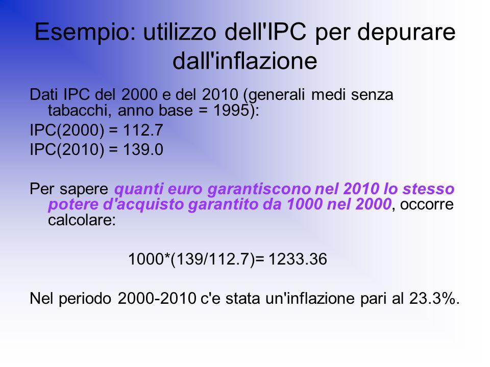 Esempio: utilizzo dell'IPC per depurare dall'inflazione Dati IPC del 2000 e del 2010 (generali medi senza tabacchi, anno base = 1995): IPC(2000) = 112