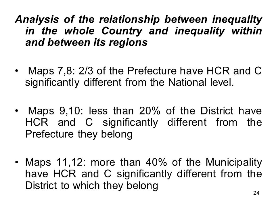 24 Analysis of the relationship between inequality in the whole Country and inequality within and between its regions Maps 7,8: 2/3 of the Prefecture have HCR and C significantly different from the National level.