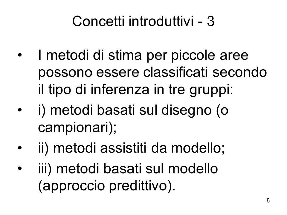6 Concetti introduttivi - 4 Per i metodi del gruppo (i) il parametro di interesse viene stimato utilizzando i procedimenti campionari classici basati sulla distribuzione di probabilità indotta dal disegno di campionamento.