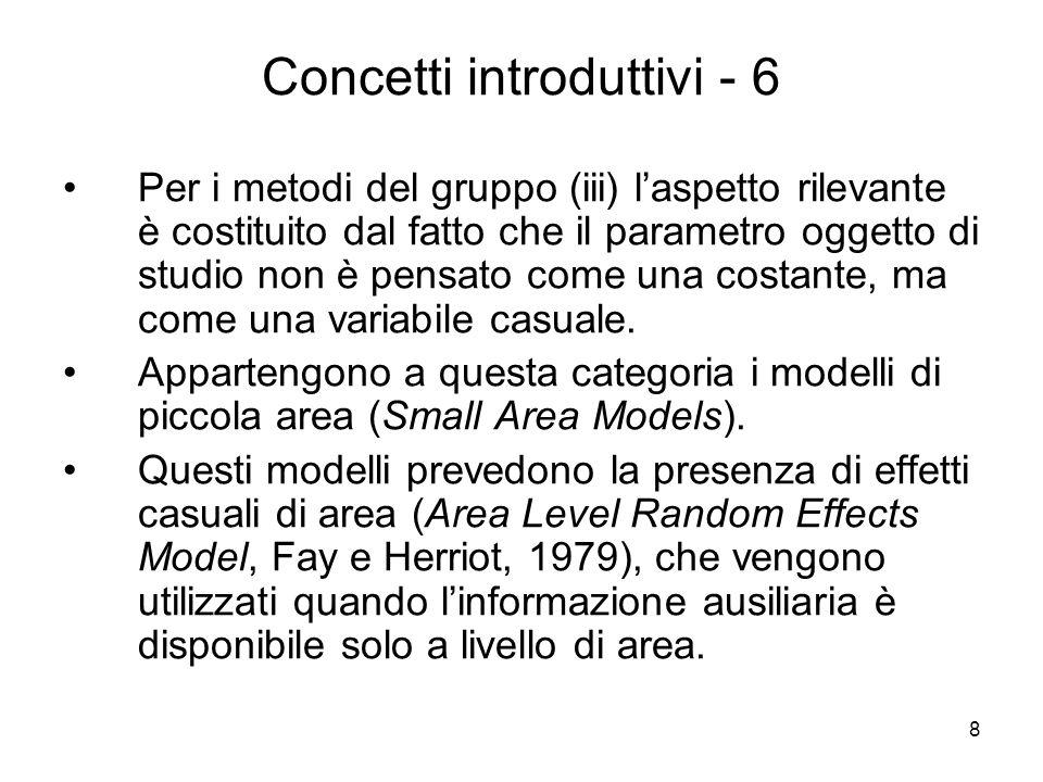 8 Concetti introduttivi - 6 Per i metodi del gruppo (iii) laspetto rilevante è costituito dal fatto che il parametro oggetto di studio non è pensato c