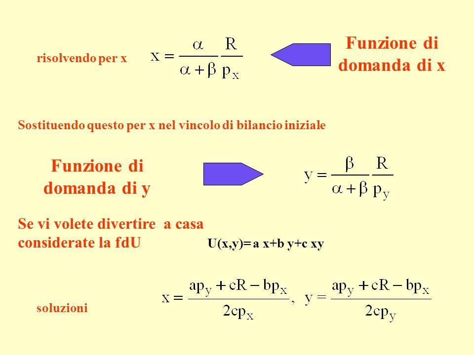risolvendo per x Sostituendo questo per x nel vincolo di bilancio iniziale Se vi volete divertire a casa considerate la fdU U(x,y)= a x+b y+c xy soluz