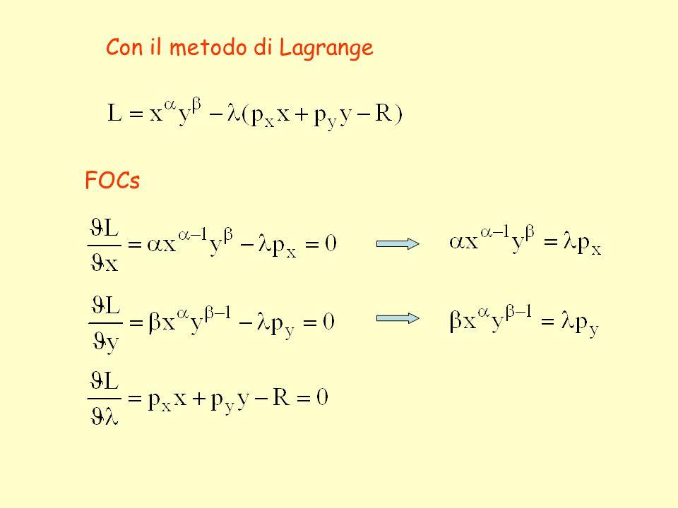 Con il metodo di Lagrange FOCs