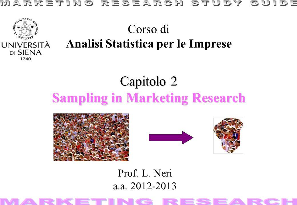 1 Capitolo 2 Sampling in Marketing Research Corso di Analisi Statistica per le Imprese Prof. L. Neri a.a. 2012-2013