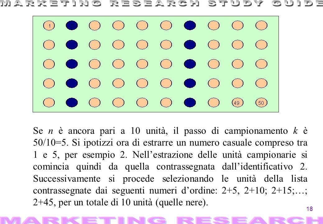 18 Se n è ancora pari a 10 unità, il passo di campionamento k è 50/10=5. Si ipotizzi ora di estrarre un numero casuale compreso tra 1 e 5, per esempio